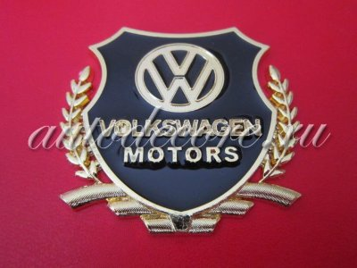 Герб Volkswagen motors gold (металл) 54х50 мм