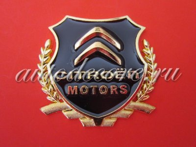 Герб Citroen motors gold металл 54х50 мм