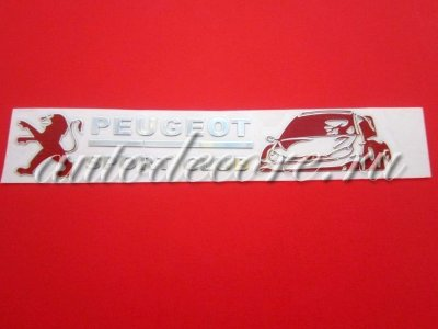 Эмблема Peugeot Sport Club chrome/red 91х17 мм тонкий металл