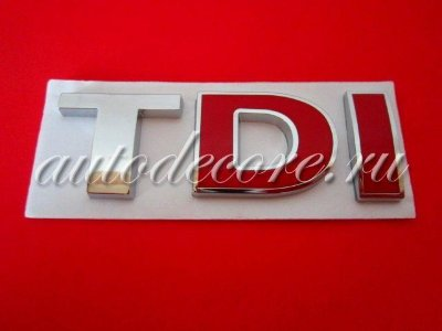 Эмблема (надпись) TDI chrome/red 78х25 мм металл