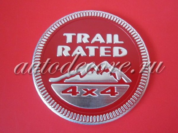 Эмблема Trail Rated 4x4 red D-60 мм металл